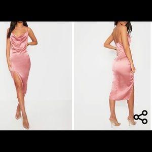 NWT- Prettylittlething Rose Satin Cowl Slip dress